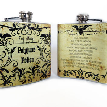 Polyjuice Harry potter inspired flask 6oz