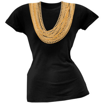 Gold Chains Black Soft Juniors T-Shirt