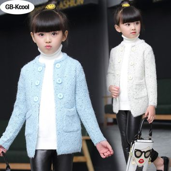 GB-Kcool New 2017 Girls Sweater Children's Cardigan Jackets Spring Autumn Round Neck Long Sleeve Knit Coats Girl winter clothes