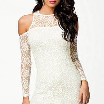 White Long Sleeved Lace Mini Dress with Cut-Out Shoulders