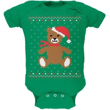LMFCY8 Ugly Christmas Sweater Big Teddy Bear Kelly Green Soft Baby One Piece