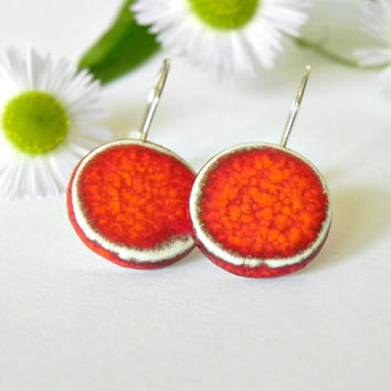 Minimalist Coral Red Ceramic Earring Round Jewelry Bright Geometric Pottery Eco Friendly