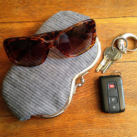 Gray Pinstripe Linen, a sunglass or eyeglass case, smartphone case, small clutch
