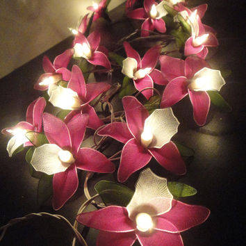 20 Pink Magenta Orchid Flower Fairy String Lights by marwincraft