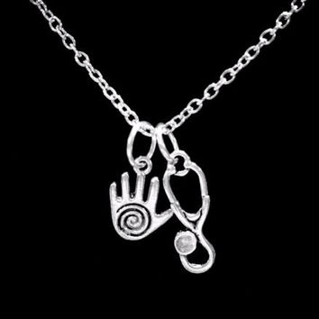 Healing Hand Stethoscope Spiral Hand Gift Massage Therapist Nurse Necklace