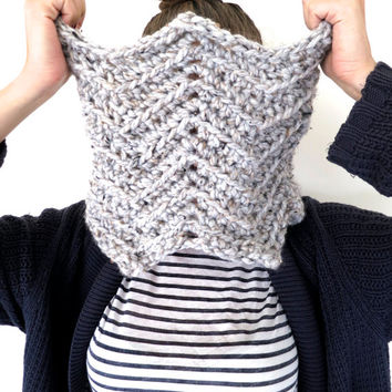 Chunky Soft Chevron Crochet Knit Cowl // Afghan Cowl in Philosopher's Stone // Many Colors and Vegan Options Available
