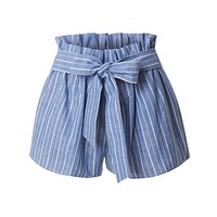 High Waisted Belted Ruffle Striped Shorts with Ribbon Tie Closure