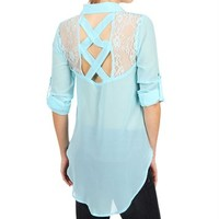Aqua Lace Collar Top