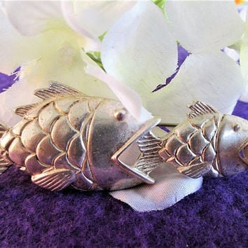 Anne Klein Silver Fish Brooch  Signed AK Pisces Ocean Figural Designer Vintage Jewelry Gift Mother's Day Birthday