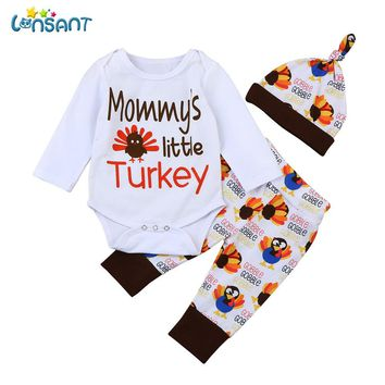 LONSANT Newborn Infant Baby Girl Boys Letter Romper Long Sleeve Tops+Pants+Hat Thanksgiving Outfits Set Drop Shipping