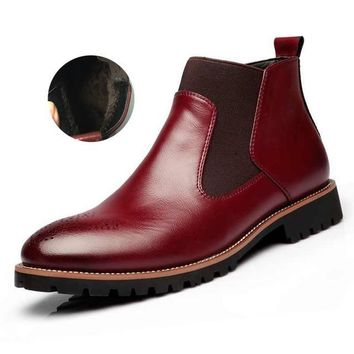 Chelsea British Style Fashion Ankle Black/Brown/Red Brogues Soft Leather Casual Boots