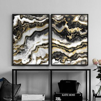 Home Decoration Black gold abstract painting marble posters and prints canvas wall art pictures for living room nordic