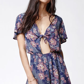 Kendall and Kylie Tie Front Short Sleeve Romper at PacSun.com