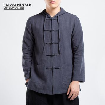 Trendy Sinicism Store Cotton Linen Bomber Jacket Men Windbreaker 2017 Autumn Male Chinese Traditional Style Jacket Coat Size Plus AT_94_13