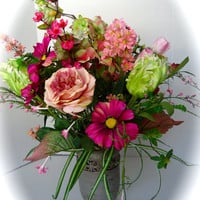 Silk Floral Table Arrangement Centerpiece in Pink and Green in Faux Stone Vase