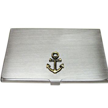 Brass Toned Nautical Anchor Business Card Holder