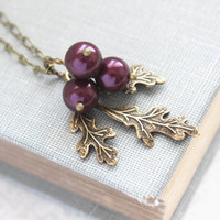 Purple Berry and Branch Necklace Aubergine Eggplant Nature Inspired Rustic Wedding Bridesmaids Gifts Nickel Free Antique Brass Branch