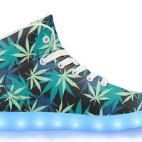 Blue & Green Weed - APP Controlled High Top LED Shoes