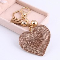 Heart Leather Tassel Gold Key Chain/Key Ring