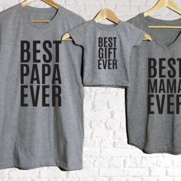 Best Ever Family set of 3, Baby shower gift, Mothers day gift, Anniversary Gift, Family Photos, New Family Gift