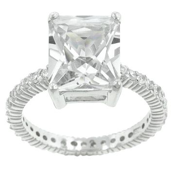 Marlene Radiant Cut Engagement Statement Ring | 7ct | Cubic Zirconia | Sterling Silver