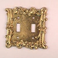 Vintage 1960's Double Light Switch Plate, Charm N Style Gold Tone Rose Light Switch Cover, Brass or Brass Plated Double Light Switch Cover