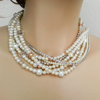 Bridal Necklace Set Wedding Necklace Set Wedding Necklace and Earrings Set Wedding Jewelry Set Pearl Rhinestone Crystal Jewelry Set