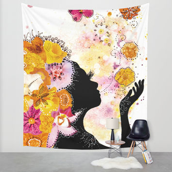 Flower Child Wall Tapestry by Jenndalyn