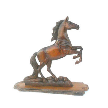"Wood Carving Horse Hand Carved Horse Natural Teak Wood Wild Mustang Wooden Horse With Base Stand Art Decor / Wall Hanging / Gift 18.5""X11.5"""