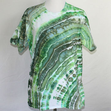 Mens Green XL Tie Dye Shirt, Tie Dye T-Shirt, Mens Tie Dye Shirt with Green Stripes, Size Extra Large, XL