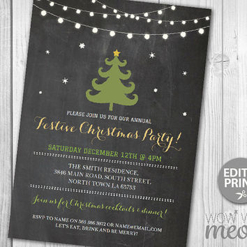 Christmas Party Invitations Tree Holiday Season Invites Festive Lights INSTANT DOWNLOAD Snowflakes Snow Merry Print Printable Chalk Editable