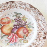 Antique Johnson Brothers Windsor Ware Fruit Cake or Dinner Plate, Wedding, Autumn, English Country, Rustic Cottage Chic