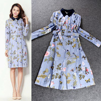 Digital Printed Cardigan Button Long Sleeeve Pleated Dress