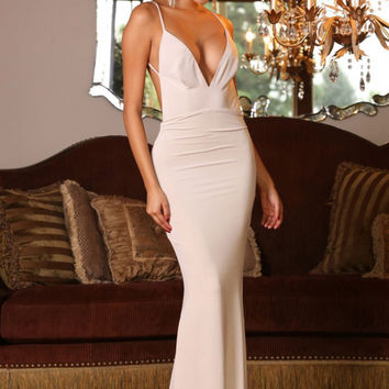 Deep V-Neck Spaghetti Strap Backless Maxi Dress