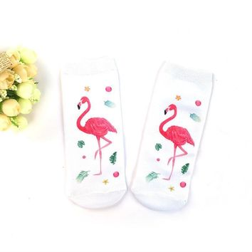 Red Flamingo 1 Pair White Low-Cut Liners Socks Ankle Casual Style New Fashion