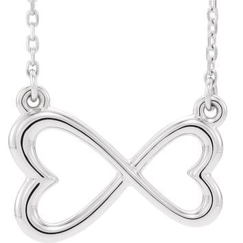 14k White or Yellow Gold Infinity Inspired Heart Necklace, 16-18 Inch