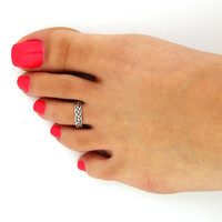 Vintage look sterling silver toe ring celtic knot toe ring adjustable toe ring