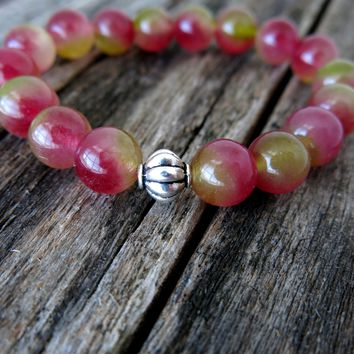 Gemstone Stack Bracelet - Watermelon Chalcedony - Fluted Lantern Bead - Pink - Green - Stackable Stretch