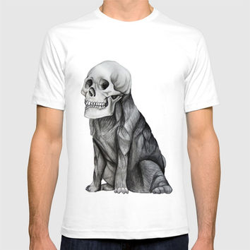 skullpug // A brutal pug wearing a human skull made in pencil T-shirt by Camila Quintana S