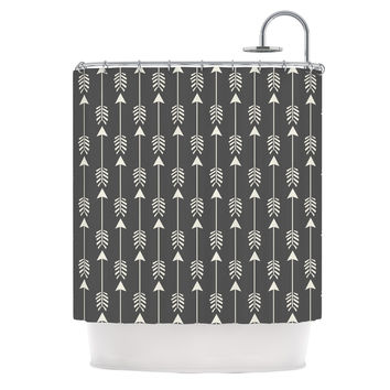 "Amanda Lane ""Tribal Arrows Dark Gray"" Shower Curtain"