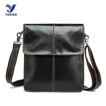 Cowhide Genuine Leather Men Messenger Bag Brand Designer Handbag Vintage Casual Shoulder Bag Black Flap Man Crossbody Bags