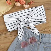 Striped Knot Front Bandeau Swimming Top