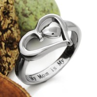 Mothers Heart Ring Mother Ring Gift For Mother - My Mom is My Angel, Mother Daughter Forever