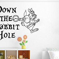 Wall Decals Quote Down The Rabbit Hole Decal Alice In Wonderland White Rabbit Vinyl Sticker Bedroom Nursery Baby Room Home Decor Interior Design Art Mural Ms527