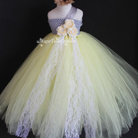 Spring/Summer Wedding Pastel Yellow and Gray/Silver Flower Girl Tutu Dress Toddler Dress1t2t3t4t5t6t7t8t9t
