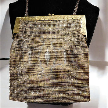 French Steel Cut Micro Bead Beaded Bag Handbag Purse Art Deco 1920s Flapper France Fashion Antique Wedding Bride Bridal Metal Beaded Bag