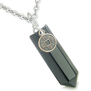 Amulet Lucky Charm Coin Crystal Point Black Onyx Gemstone Spiritual and Positive