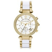 Michael Kors Designer Women's Watches Parker Stainless Steel and White Acetate Women's Watch