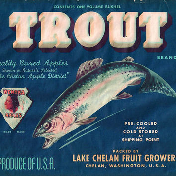 Original Crate Label Trout Wenoka Apples