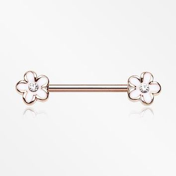 A Pair of Rose Gold Plumeria Flower Sparkle Nipple Barbell
